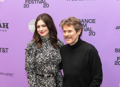 Anne Hathaway annd Willem Dafoe pose for a photo at the premiere for their new movie The Last Thing He Wanted at the Sundance Film Festival 2020. Photo: Logan Sorenson (LmSorenson.net)