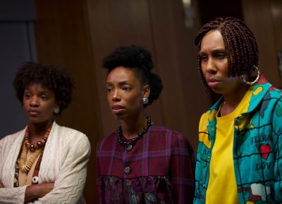 Yaani King Mondschein, Elle Lorraine, and Lena Waithe appears in Bad Hair by Justin Simien, an official selection of the Midnight program at the 2020 Sundance Film Festival. Courtesy of Sundance Institute. All photos are copyrighted and may be used by press only for the purpose of news or editorial coverage of Sundance Institute programs. Photos must be accompanied by a credit to the photographer and/or 'Courtesy of Sundance Institute.' Unauthorized use, alteration, reproduction or sale of logos and/or photos is strictly prohibited.