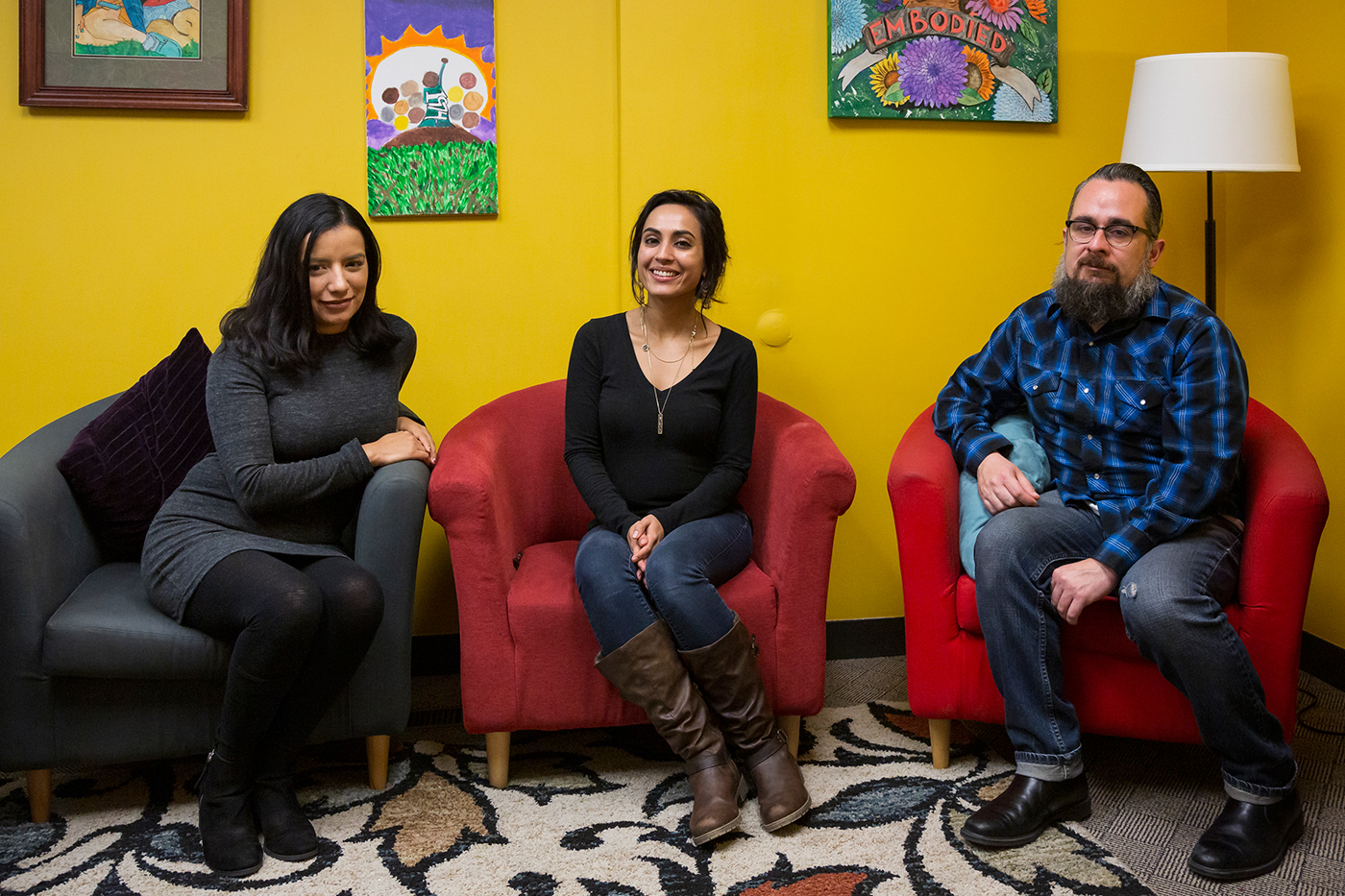 (L–R) Stephany Murguia, Megan Asadian and Jorge Barraza comprise a portion of the Rape Recovery Center staff, and work toward the goal of eradicating sexual assault through outreach and education.