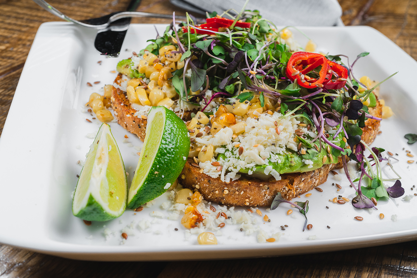 Not like any other avocado toast you've seen—the avocado toast at Beaumont Bakery tops theirs with hydroponic microgreens, cotija cheese and Fresno chiles.