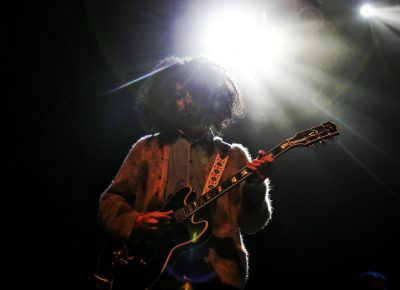 The bass player for Michael Kiwanuka at The Depot.