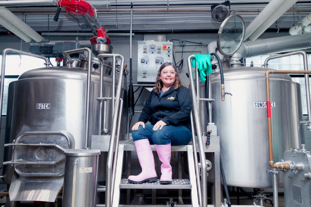 Pink Boots Society member, Krin Riedel, at their brew day at Proper Brewing Co. this past March.