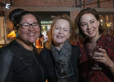 (L–R) Lightscatter board member Tacey Atsitty, Jennifer Tonge and Paisley Rekdal create sparks as they mingle at the Lightscatter Press launch party.