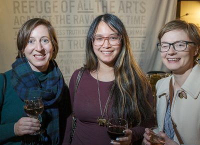 (L–R) Liza Flum, Alleliah Nuguid and Amy Sailer came out to support their poet pals at their readings in celebration of Lightscatter Press's launch.