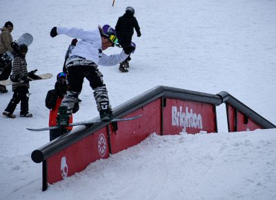 Joey Fava, spinning onto end of rail.