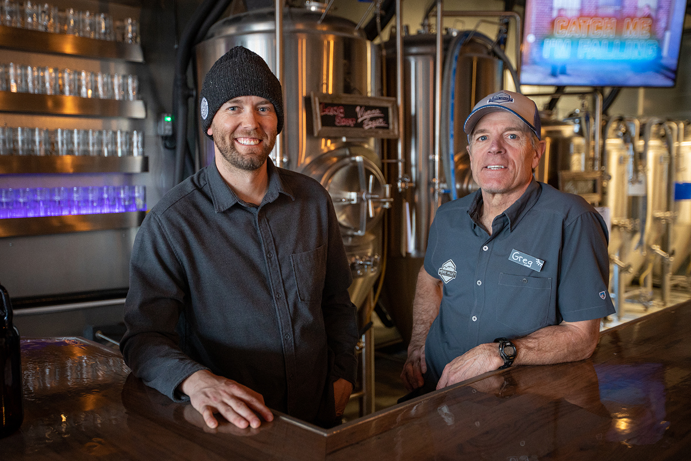 """(L–R) Clint Jones and Greg Poirier opened Heber Valley Brewing as a means of creating a casual """"community hang-out"""" that they felt was missing from their rapidly growing valley town."""