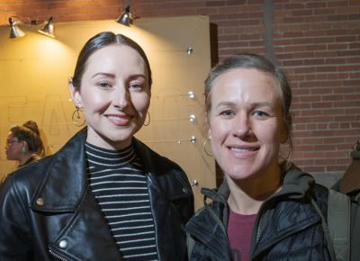 """(L–R) Candace Woolsey and Kristen Znutas came out to support Lisa Bickmore. Woolsey is a Pilates instructor at The Point, and she loves how Bickmore talks throughout the workouts. """"She's an amazing blabber and she always knows what's trending—like this!"""""""