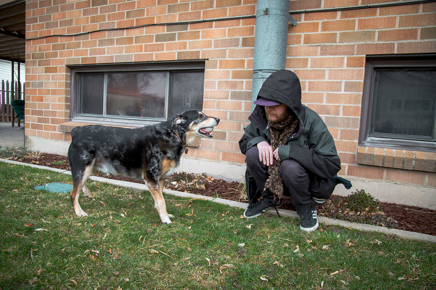 (L–R) Ender (dog) gets plenty of rubber-ball fetch time from his weird uncle, Mike Brown (human).