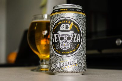"""In this edition of """"Beer of the Month,"""" Bohemian Brewery serves up the Sir-Veza, a Mexican-style lager in a slick, Day of the Dead–inspired, 12-ounce can."""