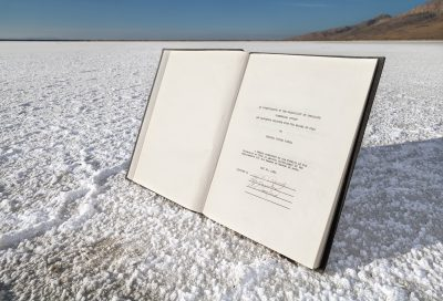 "Douglas Tolman, ""Inland Sea 1,"" 2019, from Inland Sea. Inland Sea is an encyclopedic exploration of the Great Salt Lake's transformation from a sea into an complex of industrial facilities. The first iteration of this series contextualizes a 1934 thesis which investigates the possibility of extracting minerals from the Great Salt Lake into a dry mineral evaporation basins 85 years later."