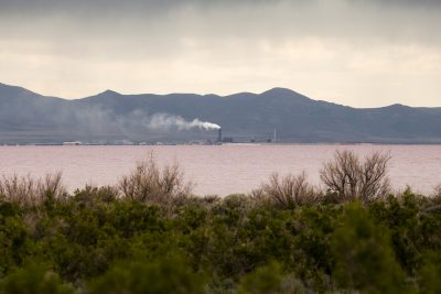 "Douglas Tolman, ""Inland Sea 4,"" 2017, from Inland Sea. The fourth and fifth image in this series show the distant magnesium extraction facility releasing chlorine dioxins into the airshed. This facility was once listed by the EPA as the nation's worst air polluter, and has been involved in several high-profile lawsuits for improper disposal of hazardous waste."