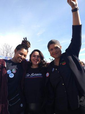 (L–R) Black Lives Matter Utah volunteers Rae Duckworth, Rosalba Dominguez and Lex Scott.