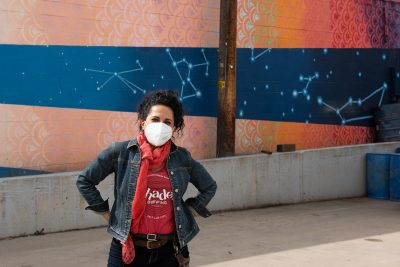Shades Co-Owner Alexandra Ortiz de Fargher sporting a protective mask on the loading dock area of the brewery, to where the sales operation has moved.