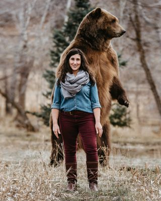 "Brent Courtney, ""Shireen Ghorbani and Bart the Bear,"" 2018, Public Lands Campaign. Shot for Shireen Ghorbani's congress campaign. Shot in Heber with movie star Bart the Bear."