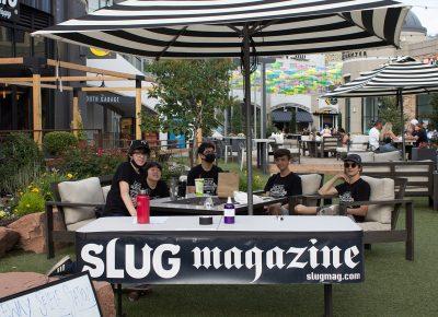 A lively crew of SLUG Cat volunteers hangin' together.