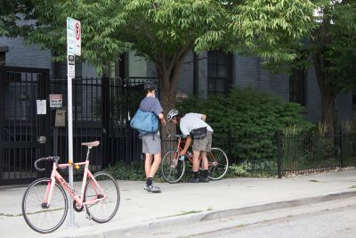 We get by with a little help locking up our bikes from our friends.