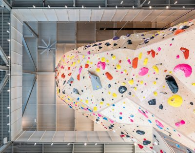 A neatly framed view of the 60 foot climbing wall from the ground floor.