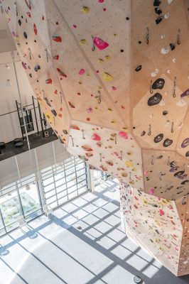 Overhanging climbing walls will really get the fingers and forearms activated.