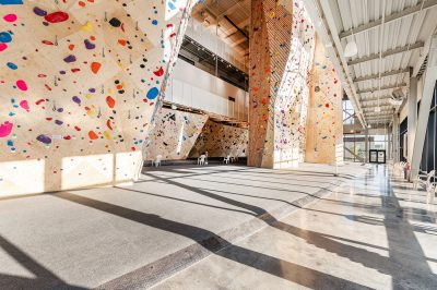The main climbing floor, shown brightly lit by the afternoon sun.