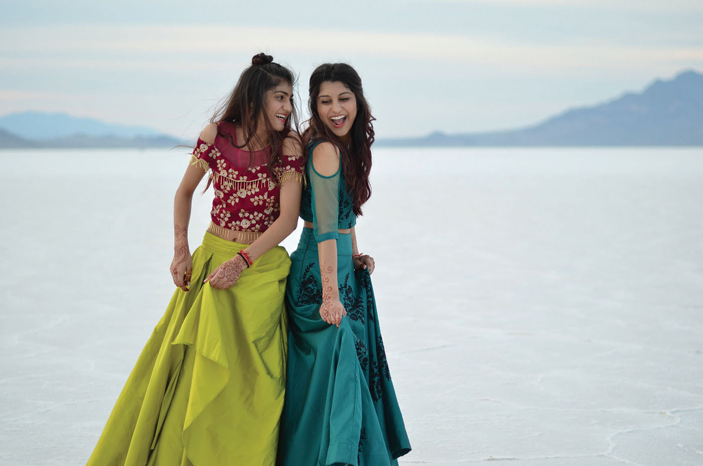 (L–R) Amishi and Aarushi Rohaj merge Western and Indian culture together through their Bollypop music stylings.