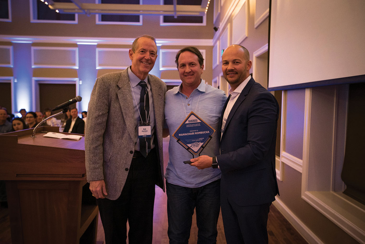 (L–R) Bob Harmon, Ben Phillips from Mamachari Kombucha and Todd Jensen at the 2019 awards ceremony.