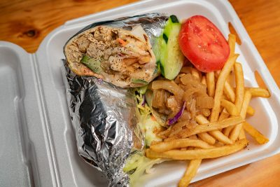 At Kiitos Brewing, Balabé Food trucks offers dishes such as their Darak chicken shwarma wrap to accompany your beer.