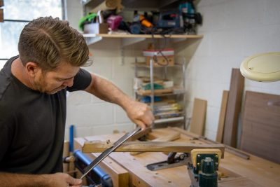"""""""[Chairs] provide a medium for pursuing the endless possibilities of design and creativity in woodworking,"""" says Justin Brown."""