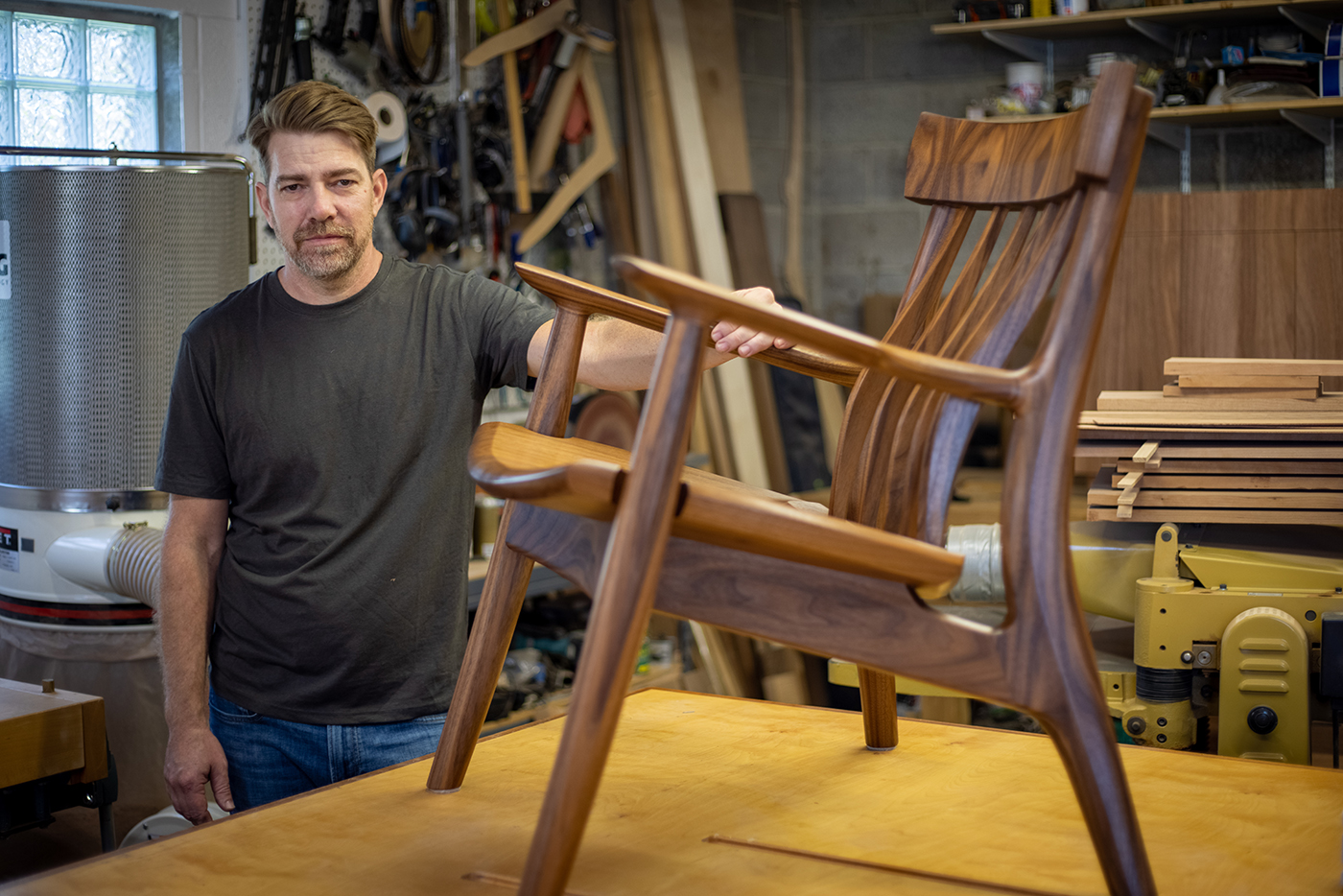 Through pieces such as his award-winning lounge chair, Justin Brown creates eye-catching furniture with an emphasis on lasting value and comfort.
