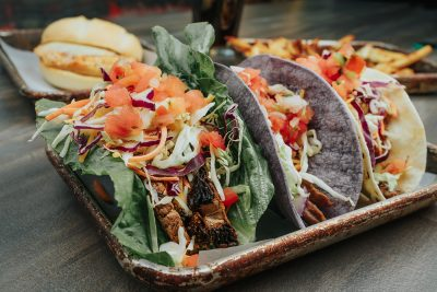 Portobello taco, steak and carnitas tacos make up this rendition of the customizable tacos available at Diversion.