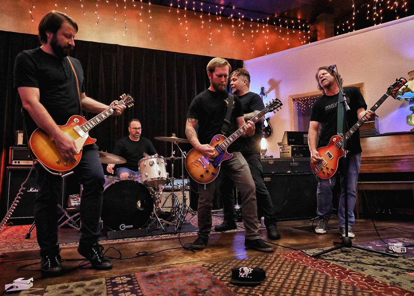 "(L–R) Mike Sasich, Kevin Ivers, Matt Miller, Jeremy Cardenas and Mick Mayo value including ""heft"" into their sound as Thunderfist."