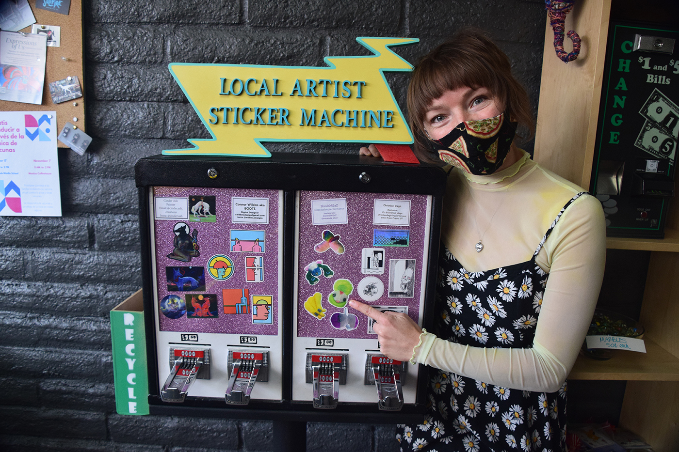 Local Artist Sticker Machine, founded by Natalie Allsup-Edwards, provides a fun, bite-sized way to support your local arts community.