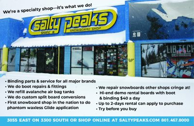 Enter to win one rental of Salty Peaks high quality snowboards for free with SLUG Mag's latest giveaway.