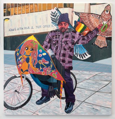 Jordan Casteel, Kevin the Kiteman, 2016, oil on canvas. The Studio Museum in Harlem; Museum purchase with funds provided by the Acquisition Committee, 2016.37. © Jordan Casteel.
