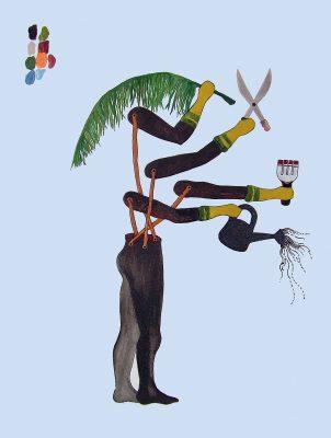 Otobong Nkanga, House Boy, 2004, watercolor, ink and acrylic on paper. The Studio Museum in Harlem; gift of Martin and Rebecca Eisenberg, 2011.10.15. © Otobong Nkanga.