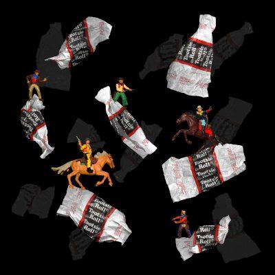 Quarantine Ephemera: Tootsie Roll Romp, 2020, 30x30, digital collage.
