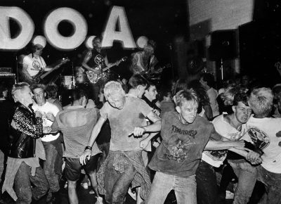 Slam-dancing as D.O.A performs at the Indian Center, March 13, 1985.