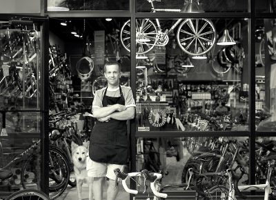 Ryan Littlefield – Contender Bicycles, 2005, digital 35mm / Canon, SLC. Image produced for Rio Tinto marketing.
