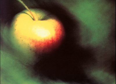 """Apple, 1987, analog medium format / Hasselblad, transparency film. AAF-Utah """"Addy""""-award-winner and call-for-entries poster image."""