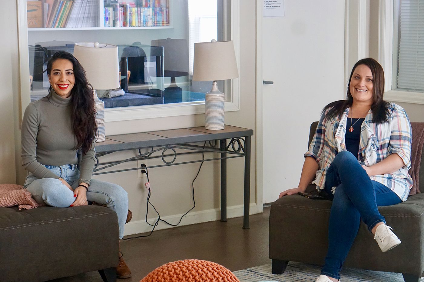 (L–R) Family Support Center Executive Director Jocelyn De La Rosa and LifeStart Program Director Heidi Lund. At the Family Support Center's LifeStart Village, single-parent families can move from homelessness into a nurturing community.