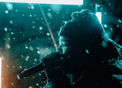 Joshy sang on, even through the snow.