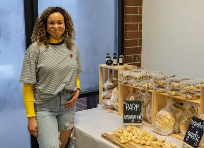 Brin selling her homemade Sourdough bread and sweet treats.
