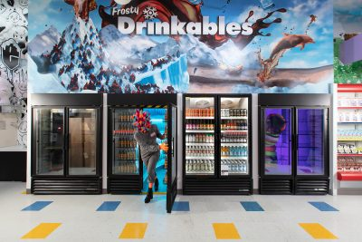 Opening Thursday, February 18th in Las Vegas, Meow Wolf's Omega Mart is ready to welcome visitors. Pictured here is a taste of one of the delectable portals in Omega Mart's drinkables section.