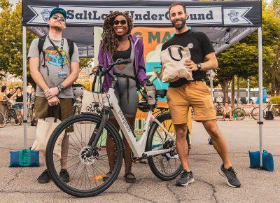 E-Bike winners (L–R): Rob Vorwald (3rd), Nkenna Onuwuzuruoha (1st), Brian Orleans (2nd)