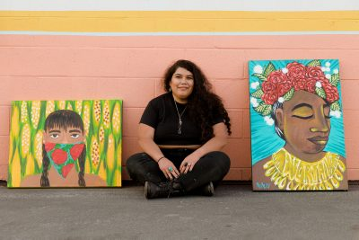 When creating, Mariella Mendoza strives to nd a happy medium between colorful imagery that still communicates the challenges they face in life.