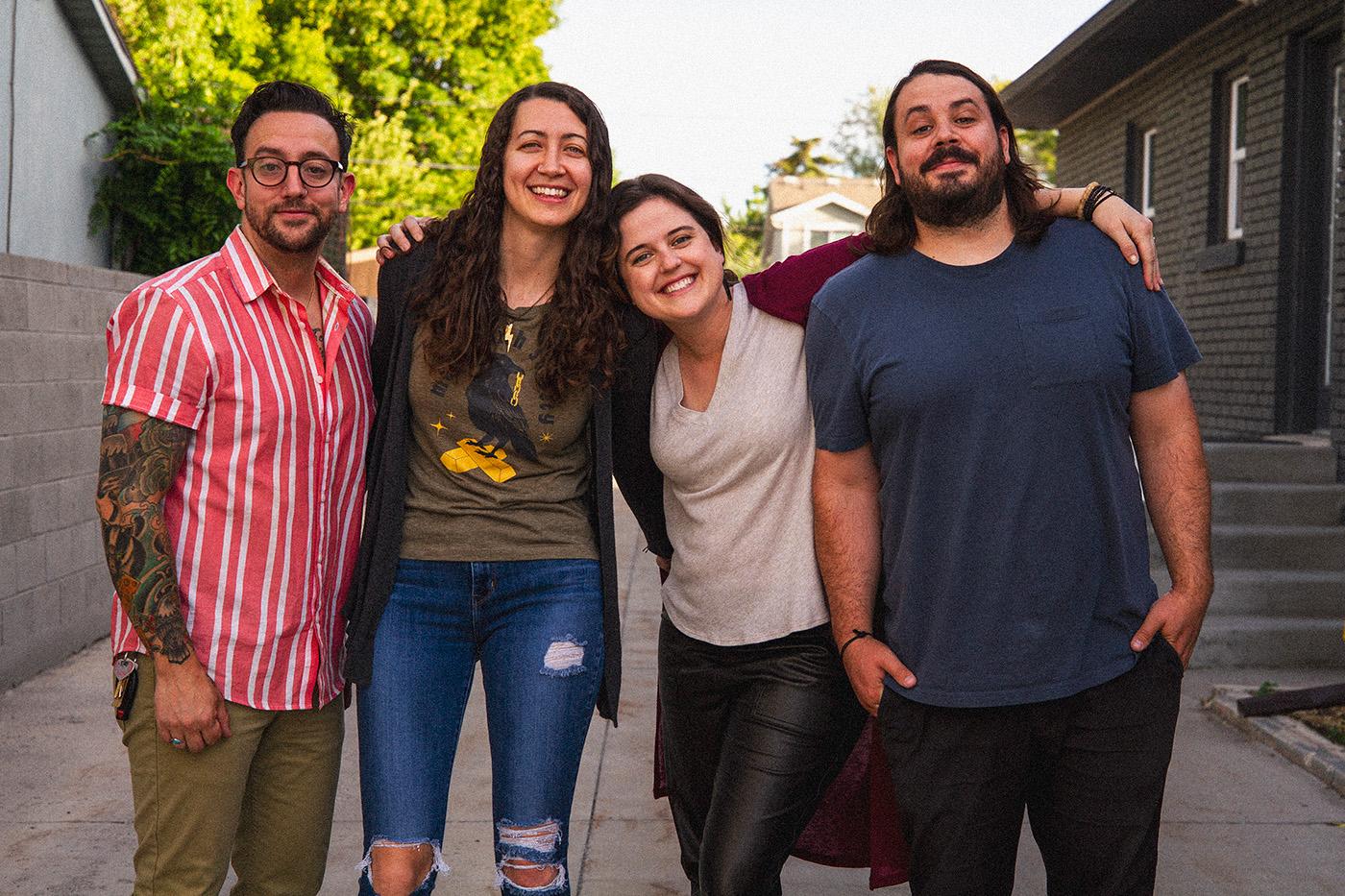 (L–R) Jamison Cerva, Liz Aponte, Jacquelyn Cerva and Dallin Cerva of No Shooting Friends, Joseph.