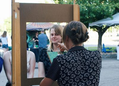 SLUG Junior Editor, Audrey Lockie, visiting the Hand Drawn Photo Booth.