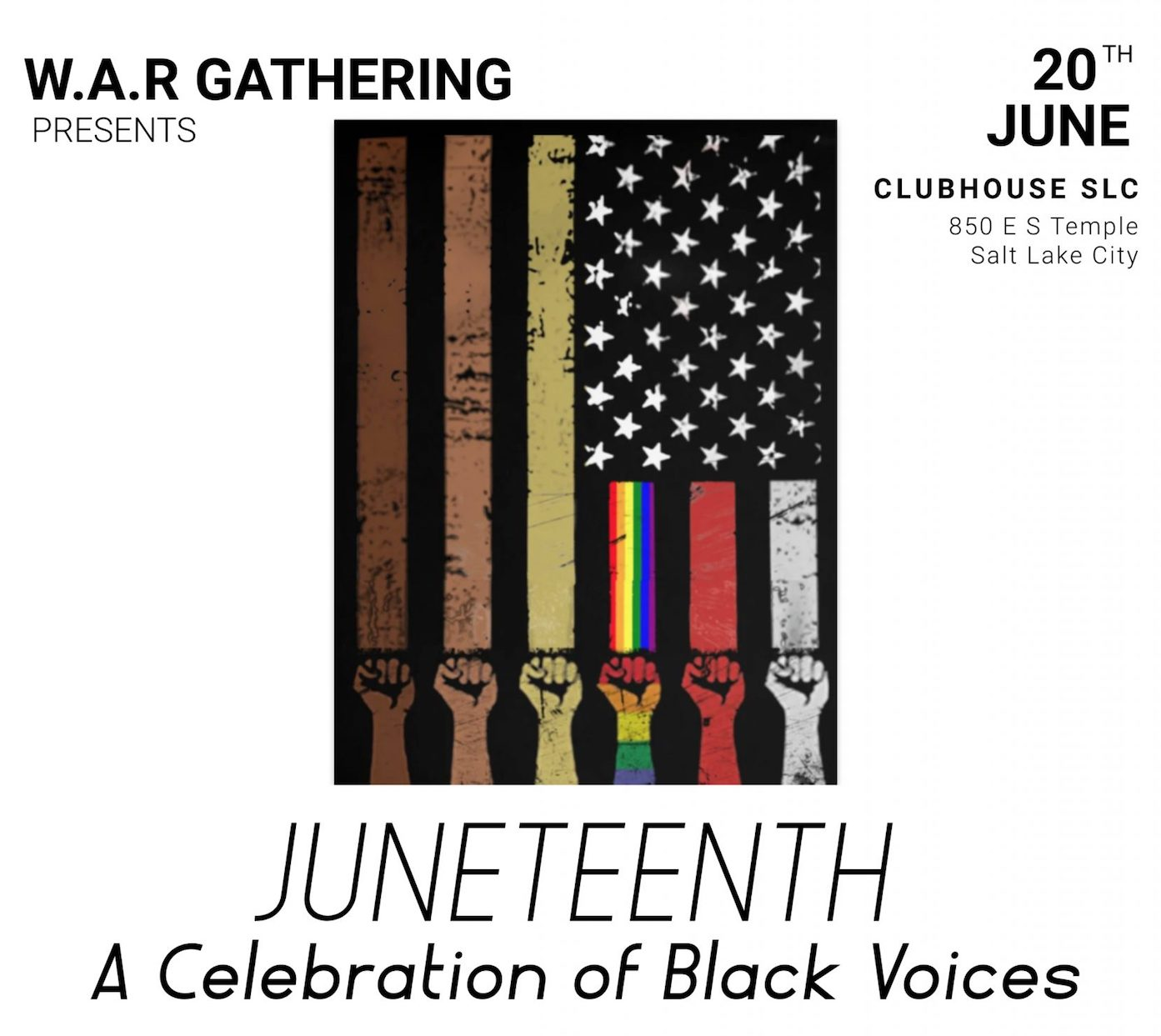 On June 20, Shea Freedom's W.A.R. Gathering is bringing Juneteenth: A Celebration of Black Voices to the Clubhouse on South Temple.