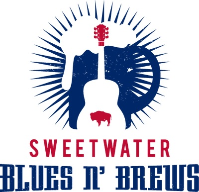 Silhouette of a bison, inside a guitar inside a beer stein with Sweetwater Blues and Brews underneath.