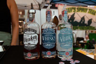 Three Sugar House Distillery spirits on display at the 2021 Brewstillery.