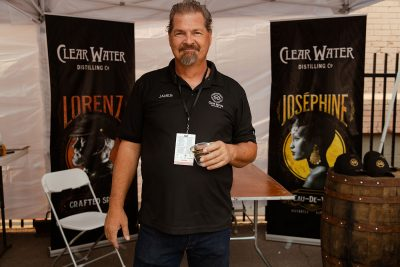 James from Clear Water Distillery with some fine spirits and a finer goatee.